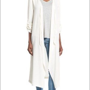 Sun & Shadow Woven Duster Kimono Natural White